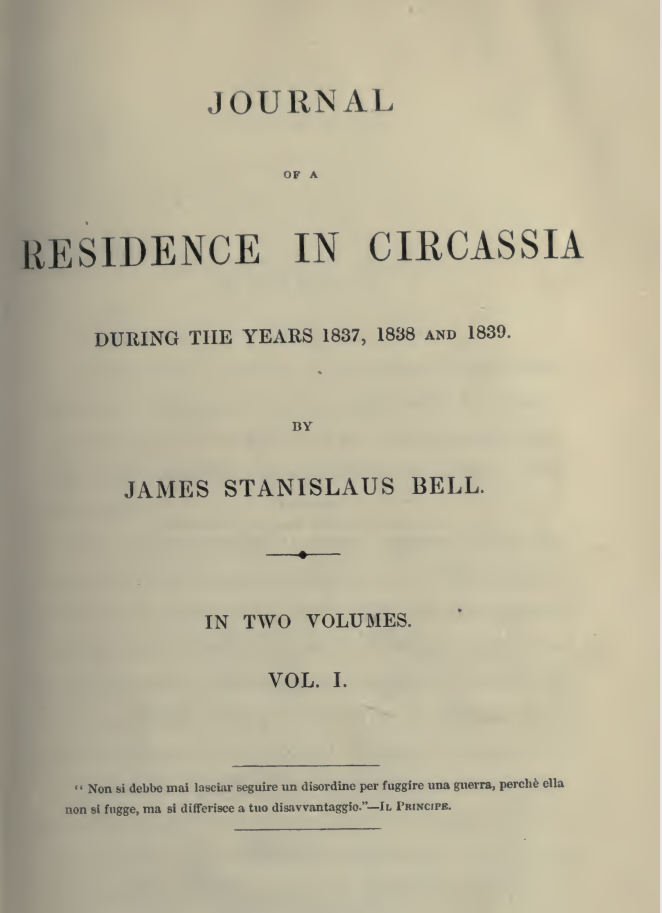 Journal of a Residence in Circassia – 1 – James S. Bell
